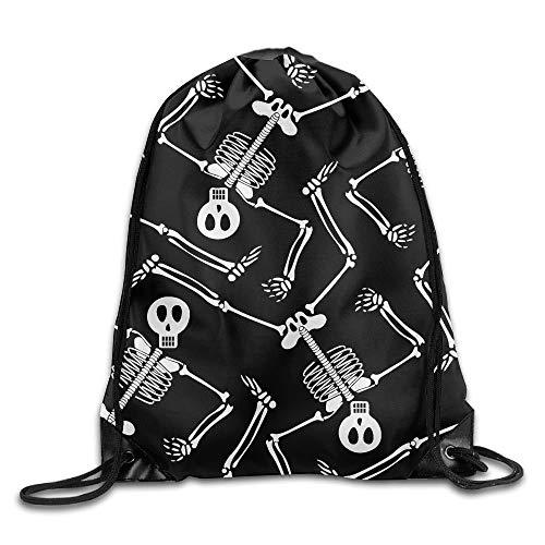 Etryrt Prämie Turnbeutel,Sporttaschen, Skeleton Dancing Pattern Unisex Home Gym Sack Bag Sport Drawstring Backpack Bag