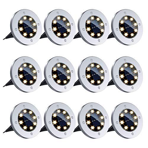 12 Piezas Luces Solares LED Exterior Jardín, Luz Blanca Cálido 8LED Luces Solar de Tierra, Luces de Jardín de Empotrables en el Suelo para Camino del Patio, Césped, Escalón, Valla de Escalera