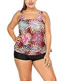 Traje De Baño Dos Pieza Monokini para Mujer Tallas Grandes Estampado Bikini Swimsuits Beachwear Tankini 3XL