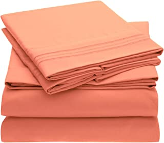 Mellanni Bed Sheet Set Brushed Microfiber 1800 Bedding - Wrinkle, Fade, Stain Resistant - Hypoallergenic - 4 Piece (Queen, Coral)