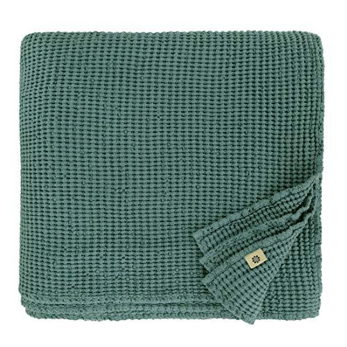 Linen & Cotton Plaid Decke Sommer Tagesdecke Waffelpique Enzo - 48% Leinen, 52% Baumwolle, Smaragd Grün (180 x 230 cm) Blanket Bedspread Überwurf Bett Überwurfdecke Bettüberwurf Bettbezug Bettwäsche