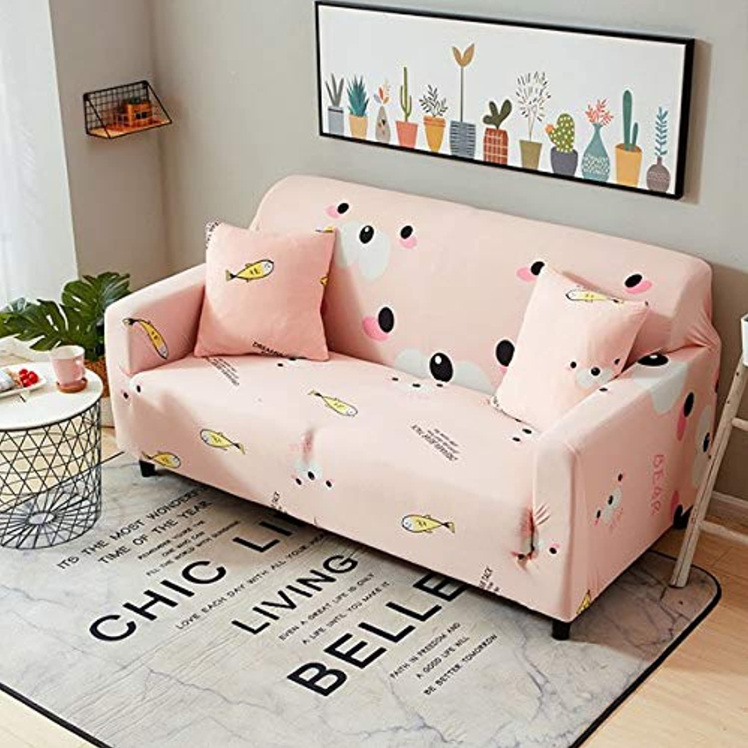 Starry Stripe Floral Spandex Elastic Sofa Predector Slipcover Case Cosy Minimalistic Anti-Dirty Stretch Sofa   5, Single seat