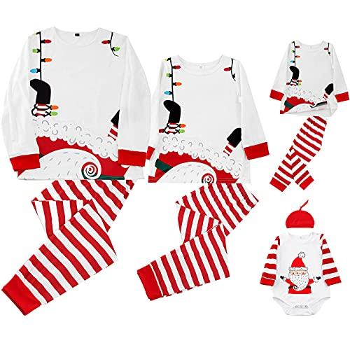 Christmas Pajamas for Family Fashion Santa Claus Print Sleepwear Long Sleeve Tops and Plaid Pants Nightwear White