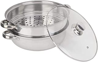 Zyyini Vaporizador de Acero Inoxidable, Olla de Vapor y Sopa de Doble Capa, Utensilios de Cocina con Tapa Olla de Cocina multifunción