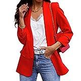 Dihope Blazer para Mujer Chaquetas de Trajes Mujer Elegante Ajustada Chaqueta Americana de Mujer de Manga Larga Casual Oficina para Primavera Otoño,Rojo,3XL