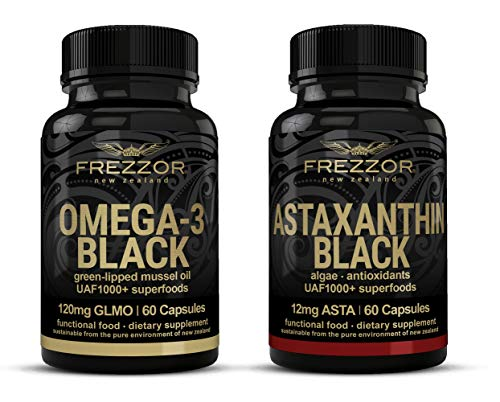 FREZZOR OMEGA-3 BLACK + FREZZOR ASTAXANTHIN BLACK, Green Lipped Mussel Omega-3 Supplement, Astaxanthin 12mg Supplement, Anti-Inflammatory, Antioxidant, Joint Health, Vision, Immune Boosting, 2 Bottles