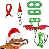 HACRAHO Arnés Y Correa de Dragón Barbudo, 3 Paquete de Arnés con Correa de Dragón Barbudo Y Lagarto Correa de Reptil Suave con ala Y Bufanda de Sombrero para Mascotas Pequeñas Navidad, Verde
