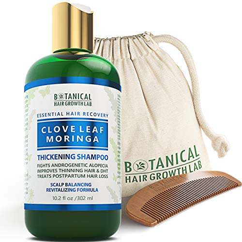 BOTANICAL HAIR GROWTH LAB - Hair Thickening Shampoo - Clove Leaf Moringa - Essential Hair Recovery - Scalp Balancing / Revitalizing - For Hair Loss Prevention Alopecia Postpartum DHT Blocker - 10.2 Oz