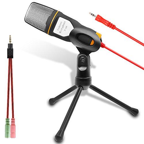 FineGood Microfono del Computer, Microfono a Condensatore Esterno per Podcast e Skype Chat, Adatto alla Maggior Aarte dei PC Laptop (Nero e Arancione)