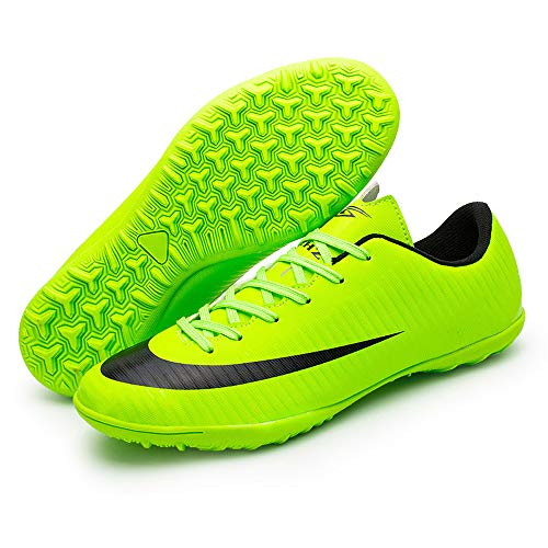 Football Shoes Male And Female Students AG Nails Gold-Plated TF Broken Nail Training Shoes Rubber-Soled TF Football Shoes Men's Indoor Training Shoes,Green,32