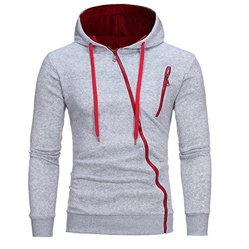GreatestPAK Kapuzenpullover Herren Hoodie Langarm Sweatshirt Tops Mantel, Grau,XL (Büste:110cm)