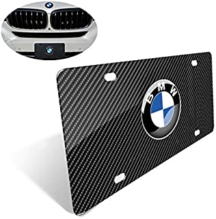 Heavy 3D Carbon Fiber Grain License Plate Cover for BMW, Stainless Steel License Plate with Screw and Caps to Personalize Your BMW License Plate Frame