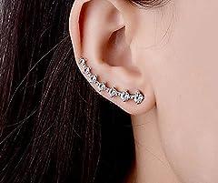 Elensan 7 Crystals Ear Cuffs Hoop Climber S925 Sterling Silver Earrings Hypoallergenic Earring #4