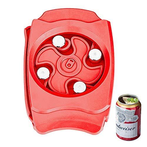 qipuneky Go Swing Topless Abrelatas, Abrelatas Manual Borde Liso con Función de Bloqueo, Abrelatas sin Bordes Afilados para la Cocina Doméstica (Rojo)