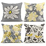 Emvency Set of 4 Throw Pillow Covers Gray and Yellow Modern Daisy with Pretty Trendy White Vintage Floral Bird Decorative Pillow Cases Cushion Home Decor Square 18x18 Inches Pillowcases