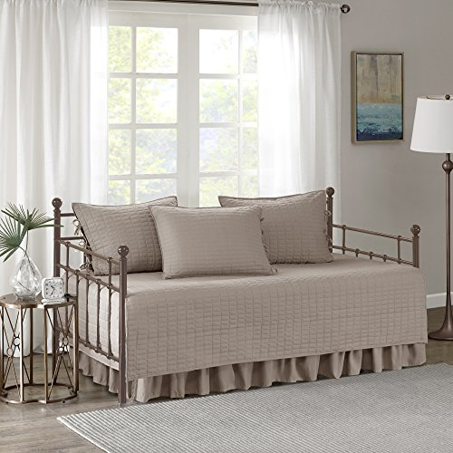 Comfort Spaces Kienna Soft Microfiber Solid Blush Stitched Quilted Pattern 5 Piece All Season Cozy Bedding with Bedskirt, Matching Shams, Decorative Pillow, 75'x39', Taupe