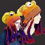 SANHAN Octopus Adult Tentacle Hat,Unisex Octopus Tentacle Hat,Hand-Woven Knitted Octopus Hat Christmas Halloween Costume Cosplay (Orange)