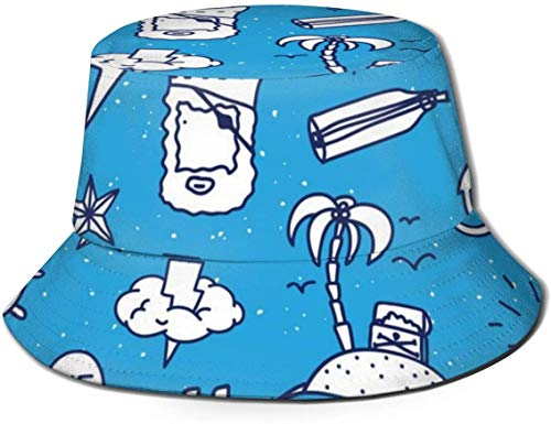 Sombreros de Cubo Transpirables de Parte Superior Plana Unisex capitán náutico Marinero Pirata Sombrero de Cubo Sombrero de Pescador de Verano