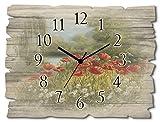 Artland Wanduhr ohne Tickgeräusche aus Holz Funkuhr 40x30 cm Rechteckig Lautlos Blumen Wiese Natur Mohnblume Klassisch T4CL