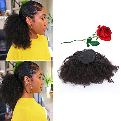 Loxxy Afro Kinky Ponytail Human Hair Natural Kinky Curly Hair Ponytail Drawstring Hair Pieces For African American Black Women Human Hair Curly Ponytail 4B 4C Afro Kinky Clip 14 Inch