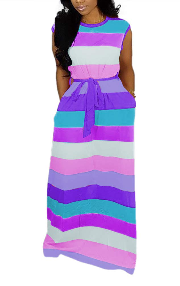 Available at Amazon: Women Maxi Dress Rainbow Striped Long Dresses Casual Loose Oversized Sundress Party Prom Ladies Outfits