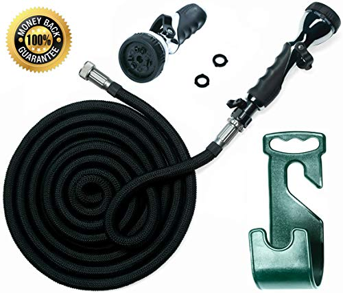Water Hose - Expandable Garden Hose - Hose Holder - High Pressure Washer Spray Nozzle with 9 Settings - Best As Seen on TV Heavy Duty Kink Free Flex Hose for Car Washing - Watering Hose (Black 25 Ft)