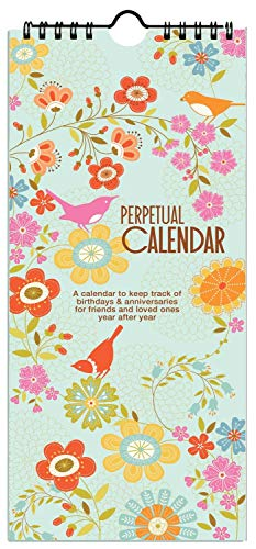 Gina B Birds and Flowers Birthday Perpetual Calendar, Annual Anniversary Reminder Calendar with Artwork by Gina Martin