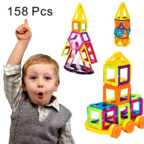 COSTWAY 158 Teile magnetische Bausteine, Magnetspielzeug für Kleinkinder, Magnetic Building, Magnetische Bauklötze