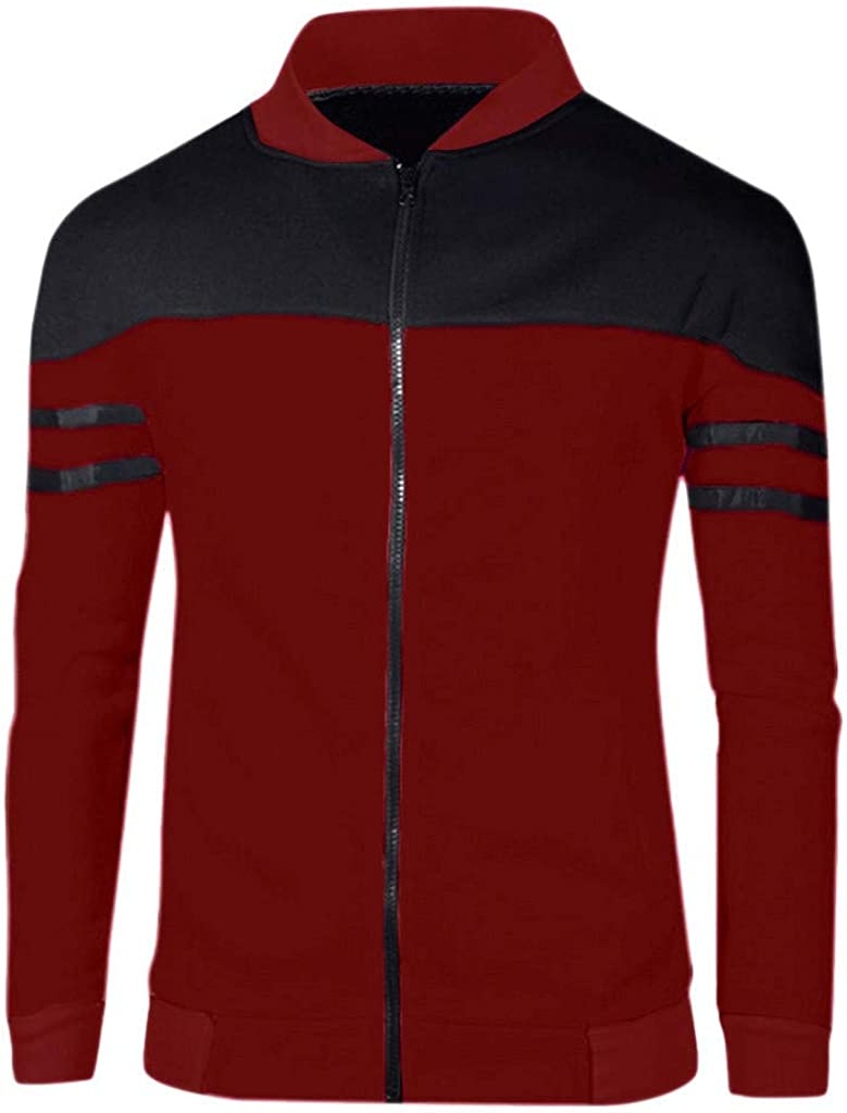 XXBR Zipper Jackets for Mens, Fall Color Block Patchwork Windbreaker Lightweight Workout Sports Casual Sweatshirts