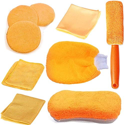 Auto Autopflege Reinigung Set 9, Mikrofaser Autowaschhandschuh zur Autoreinigung, Wachs-Tuch Reinigungstuch Set für Auto Motorrad Innen Außen Haushalt Reinigung, Mit Aufbewahrungstasche