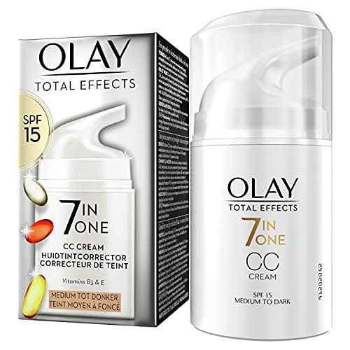 Olay Total Effects 7-in-1 CC Feuchtigkeitscreme Mit LSF 15 Für Frauen, Mittlere Bis Dunkle Hauttypen 50ml, Tagescreme mit Vitamin E, B3 & B5, Gesichtscreme Damen (Verpackung kann variieren)