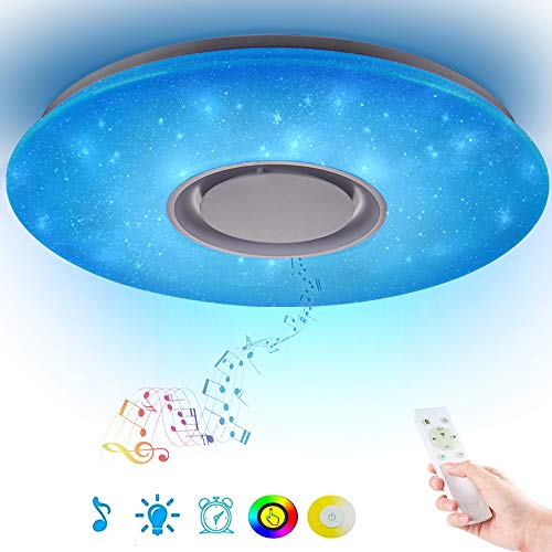 Horevo Led Music Ceiling Light with Bluetooth Speaker 36W, High Sound Quality Speaker, Upgraded Modern Light Fixtures with RGB Color Changing, Family Party Star Lights (Remote Includes)