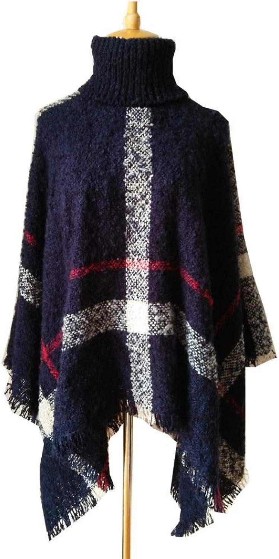 Lingyuansale Spring d Autumn Scarf, Shawl, Christmas Cloak, Turtleneck plaid sweater, plaid cloak, shawl Soft Women Scarf