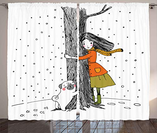 Ambesonne Dog Curtains, Young Girlnd Pug Dog Holding Tree in The Snowy Weather Illustration, Living Room Bedroom Window Drapes 2 Panel Set, 108