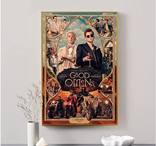 Bon présage Neil Gaiman Terry Pratchett série TV toile affiche maison peinture murale décoration (pas de cadre)-50x75cm pas de cadre