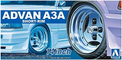 Aoshima 14 Zoll ADVAN A3A Short-Rim Felgen & Reifen Set 1:24 Model Kit Bausatz 055465