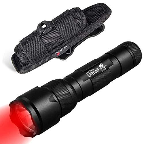 ULTRAFIRE 502B Rotlicht LED Taktische Taschenlampe 630nm Zoomable Rot Licht Lampe mit Taschenlampen Holster, Einstellbarer Fokus Single Mode Wasserdicht Mini Jagdtaschenlampe für Nachtsicht