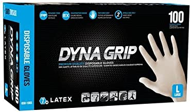 SAS Safety 650-1004 Dyna Grip Powder-Free Latex Disposable Glove, X-Large, 7 mil Thick (Pack of 100)