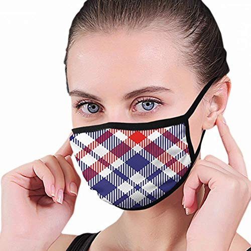Sanitair masker, geruite Schotse ruit geruite stof Americana Beauty Fashion mondmasker, mondbeschermers voor hardlopen Skiën Snowboarden