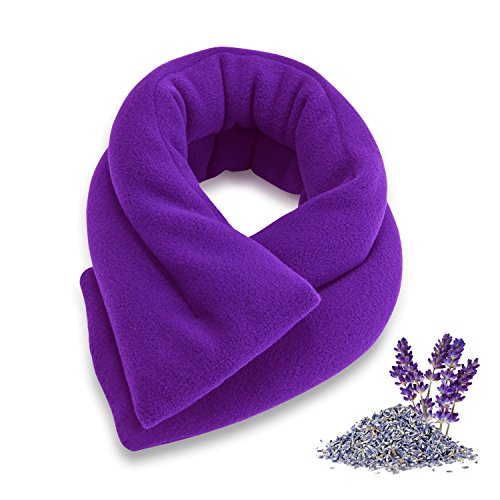 Sunny Bay Neck Heating Wrap, Heat Therapy Pad for Sore Neck & Shoulder Muscle Pain Relief-Thermal, Reusable, Non Electric, Purple Fleece Cover, Extra Long, Lavender-Scented