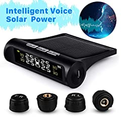 【6 ALARM MODES AND INTELLIGENT VOICE PROMPT - BOOST DRIVING SAFETY】: ** FAST OR LOW LEAK ALARM ** HIGH PRESSURE OR TEMPERATURE ALARM ** SENSOR FAULT OR BATTERY LOW POWER ALARM ** (Press any button will stop alarming). 【2 CHARGING WAYS - SOLAR POWER &...