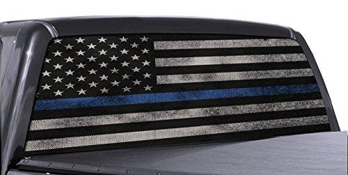FGD Brand Truck Rear Window Wrap Thin Blue Line American Flag Perforated Vinyl...