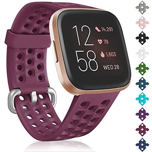 Oielai para Correa Fitbit Versa 2/Correa Fitbit Versa, Silicona Deporte Suave Reemplazo Correa Pulsera Compatible para Fitbit Versa Lite/Fitbit Versa 2/Fitbit Versa para Mujer Hombre, Grande Vino rojo
