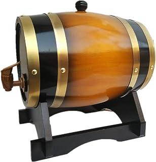Tonneau à vin en Bois Fût de Whisky, 3L avec Support en Fût de Chêne pour La Vinification ou Le Stockage des Spiritueux Bi...