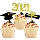 YuBoBo 2021 Graduation Cupcake Toppers, 48 PCS Food/Appetizer Picks For Graduation Party Mini Cake Decorations, Diploma, 2021, Grad Cap Set 48 Pieces (Graduation)