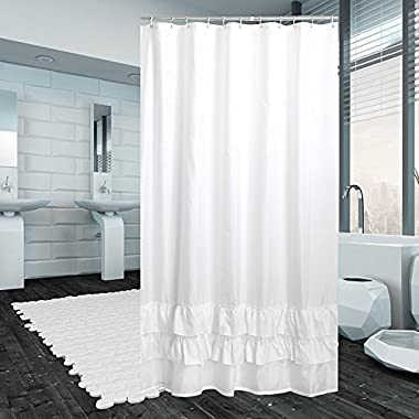 YUUNITY Ruffle Shower Curtain with 12 Hook,for Bathroom Decoration,Polyester Fabric Waterproof/Mildew Resistant/Anti-Bacterial/Non-Toxic/Washable, 72x72-White