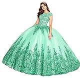 Snow Lotus Vestido de quinceañera de princesa con cuentas bordadas con encaje floral apliques bola vestidos dulces 16 vestidos, verde menta, 50