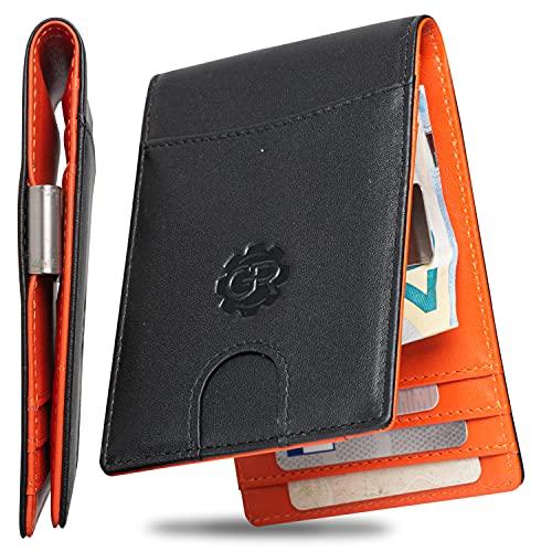 Gravizone® - Cartera con pinza para billetes y monedero para hombre, pequeño, fino, RFID