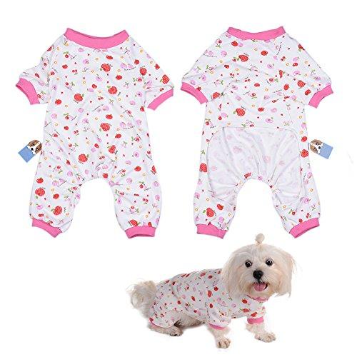 Per Animaux Chien/Chiot/Chihuahua Pyjama avec Le Motif Mignon de Cerise et Quatre Pieds Conception pour Les Moyennes et Petits Chiens - XS/S/M/L/XL