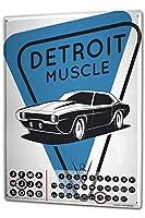 カレンダー Perpetual Calendar Garage Detroit Muscle V8 Tin Metal Magnetic Gas Stations Vintage